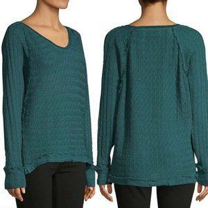 Free People Green Dolman HiLow Long Sleeve Sweater